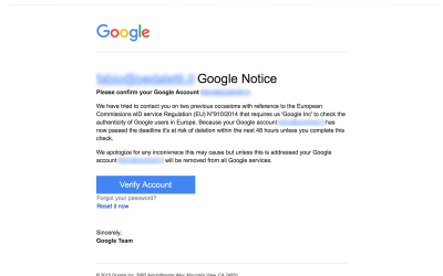 Phishing da Google?